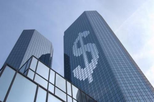 mirrored-glass skyscraper of a big bank