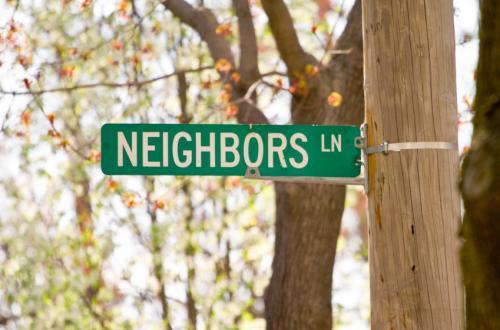 Sign saying Neighbors Lane